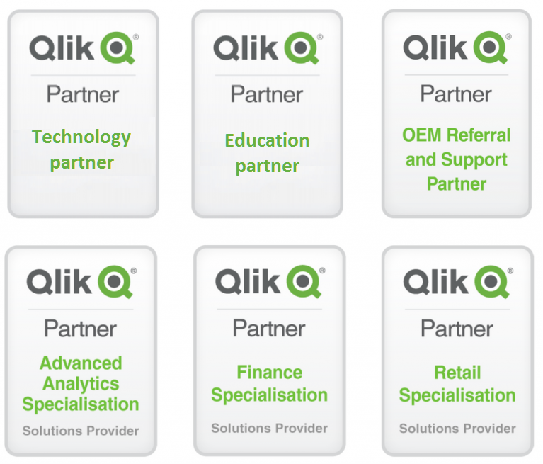 Qlik 6 badges - About EMARK